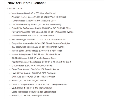 Locations de commerce à New York