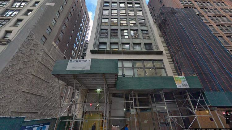 rent office 21 west 38th street